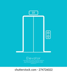Icon elevator with closed doors. vector.