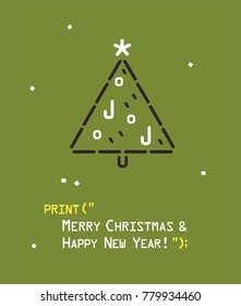 Icon emotion with a Christmas tree. Text: Merry Christmas and a Happy New Year!