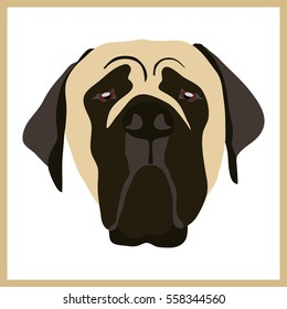 Icon with english mastiff dog. Vector illustration in flat style.