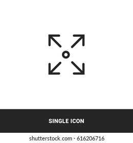 icon expand resize screen outline black single icon graphic design