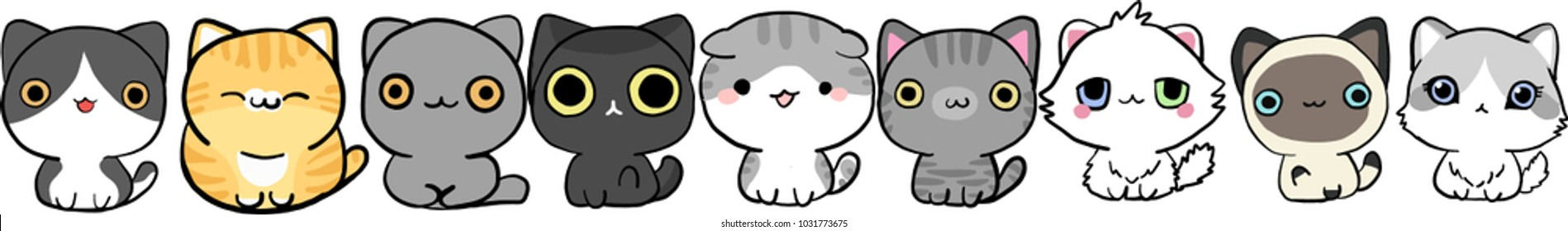Icon family cats for graphic design