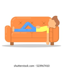 Icon with fashion hairstyle man lazy lying on couch in room flat style. Vector logo character on sofa in cartoon style  illustration.