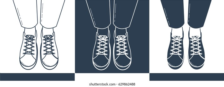 Icon of feet in sports shoes of a teenager top view. Silhouettes of feet in shoes