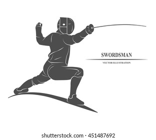 Icon fencer with a sword. Vector illustration.