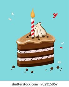 Icon of a festive chocolate cake with a candle. Cake with cream, icing and chocolate chips.