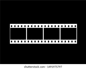 Icon of film strip vector illustration on black background. Vector ilustration.