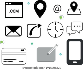 icon financial location money office internet communication chat credit card cell
