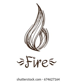 Icon Fire in the style of hand-drawing. Sketch magical elements. Drawing for the design of board games, mobile applications.