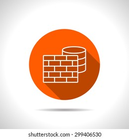 icon of firewall and database