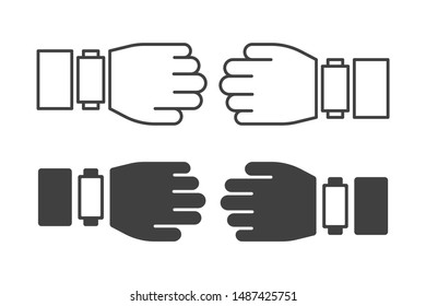 Icon fitness bracelet on her arm. Several image options. Vector on a white background.