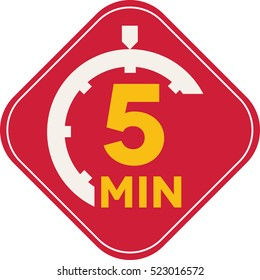 Icon of five minutes square time symbol, fast delivery
