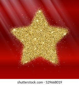 Icon of Five-pointed star with gold sparkles and glitter, glow light, bright sequins, sparkle tinsel, shimmer dust. Five-pointed star sign isolated on red background