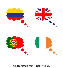 icon Flag with columbia, flag of great britain, columbia flag, usa flag and portugal