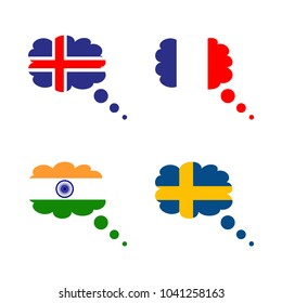 icon Flag with india, france flag, iceland flag, india flag and indian