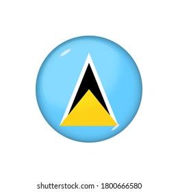 Icon flag of Saint Lucia . Round glossy flag. Vector illustration. EPS 10