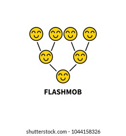 Icon flashmob, flash mob. Smiling smileys, multilevel marketing scheme, viral advertising, add. Vector illustration