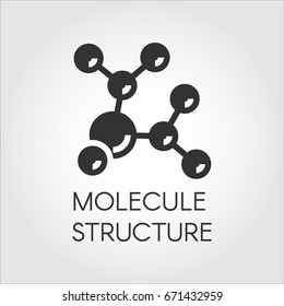 Icon in flat design of abstract molecular structure. Chemical compound black logo. Vector illustration
