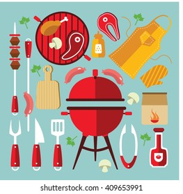 Icon flat set with different tools and accessories for picnic or party with BBQ vector illustration