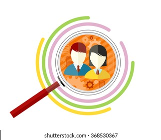 Icon flat style concept target audience. Business marketing, infographic information, social chart, data market, development and research infograph illustration. Target audience vector concept