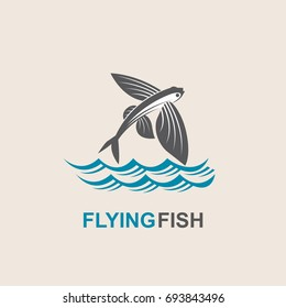 icon of flying fish with waves