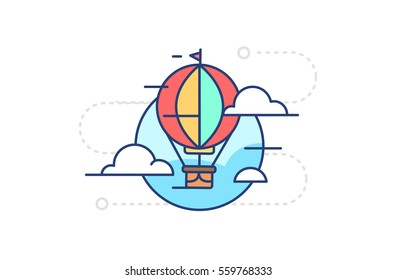 Icon flying in the sky balloon with clouds on white background in flat style with contour