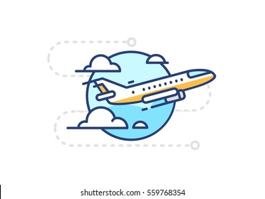 Icon flying in the sky plane with clouds on white background in flat style with contour