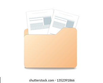 icon folder with documents from which two documents stick out