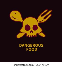 Icon food poisoning. Vector illustration of  dangerous diet. Sketch skull with crossed spoon and fork.