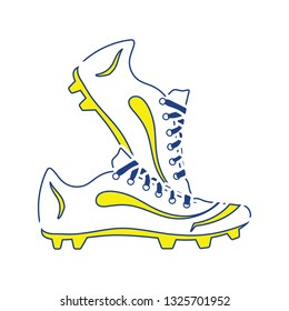 Icon of football boots. Thin line design. Vector illustration.