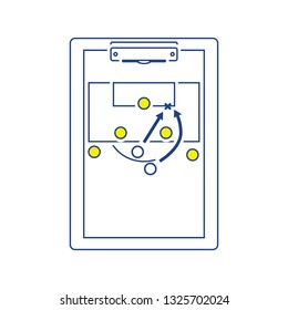 Icon of football coach tablet with game plan. Thin line design. Vector illustration.