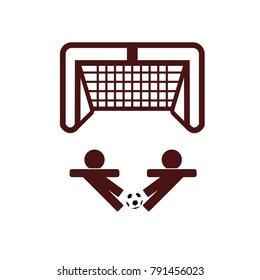 Icon of football player kicking ball to goal logo