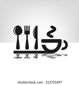 icon of fork, spoon, knife, cup