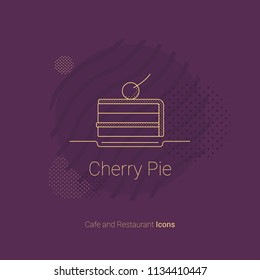 Icon in the form of a piece of cake with a cherry. For restaurants and cafes.