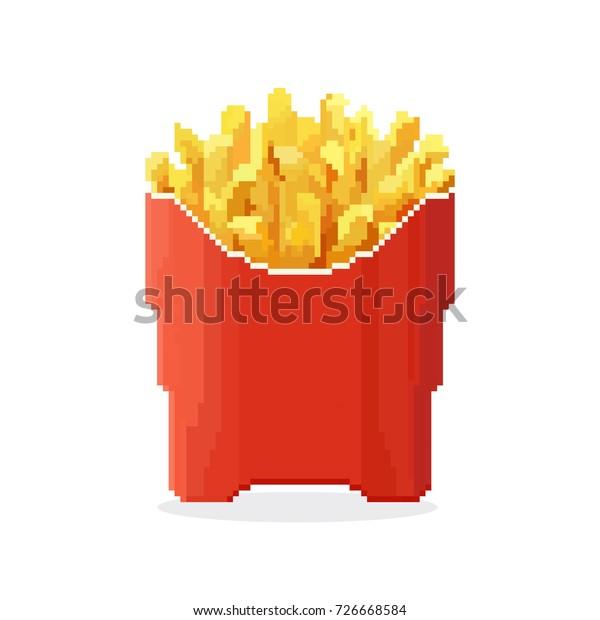 Image Vectorielle De Stock De Icône Frites Fast Food 8