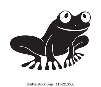 Icon frog. Flat symbol frog. Isolated black sign frog on white background. Logo. Tree frog. Vector Illustration