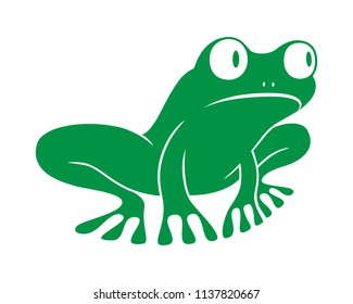 Icon frog. Flat symbol frog. Isolated green sign frog on white background. Logo. Tree frog. Vector Illustration
