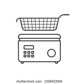 Icon fryer with basket. Vector on white background