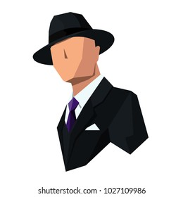 icon of the gangster in a hat and coat. Without a face. Drawn from simple geometric shapes and this is even more interesting.