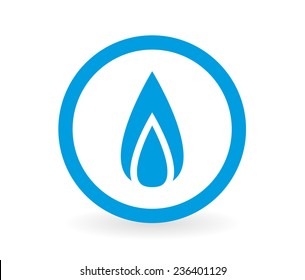 Icon of a gas flame in blue and white - Abstract vector image easy to change color.