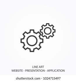 Icon Gear Line Art Style Vector Using For Your Presentation, Website And Application