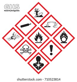 Icon ghs danger safety corrosive Chemical sign Global healthy Physical hazards signs Explosive Flammable Oxidizing Compressed Gas Corrosive toxic Harmful Health hazard Corrosive Environmental.