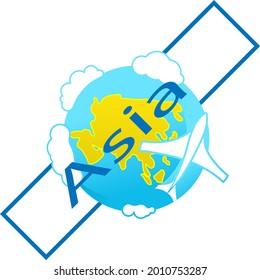 Icon of globe. Flying plane. Asia continent. Tourist logo