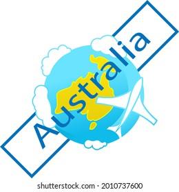 Icon of globe. Flying plane. Australia continent. Tourist logo