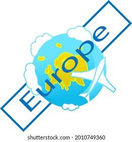 Icon of globe. Flying plane. Europe continent. Tourist logo