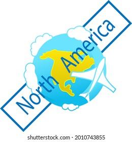 Icon of globe. Flying plane. North America continent. Tourist logo