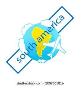 Icon of globe. Flying plane. South America. Tourist logo