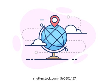 The icon of the globe with the pin, the clouds and route on white background in flat style with stroke