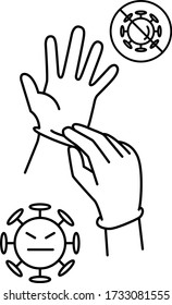 icon, glove, putting on gloves, medical, hand