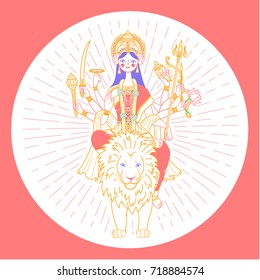 Icon of Goddess Durga with many hands riding on a lion in the rays of glory (navratri). Icon in the linear style