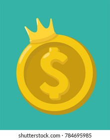 Icon gold coin dollar. On the coin is a golden crown. American Dollar The king of currencies.